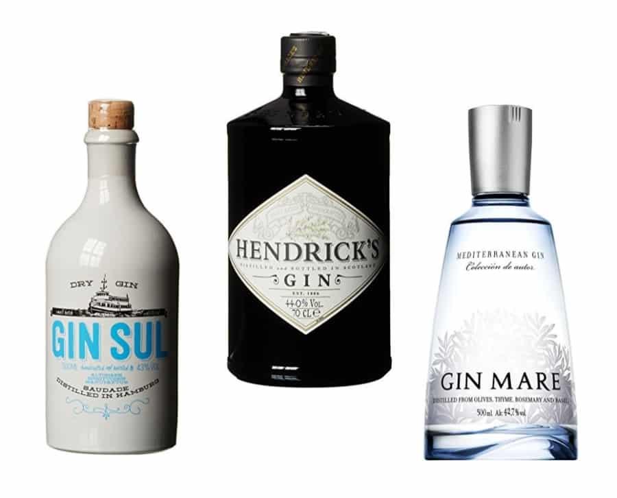 Beispiele für Dry Gin: Hendriks, Gin Sul & Gin Mare