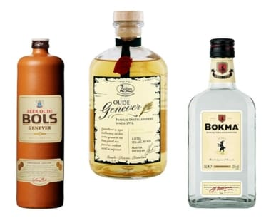 Beispiele für Genever: Bols, Zuidam Zeer & Bokma Jonge Genever