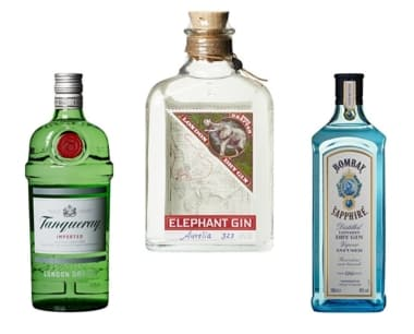 Beispiele für London Dry Gin: Tanqueray, Bombay Sapphire & Elephant Gin