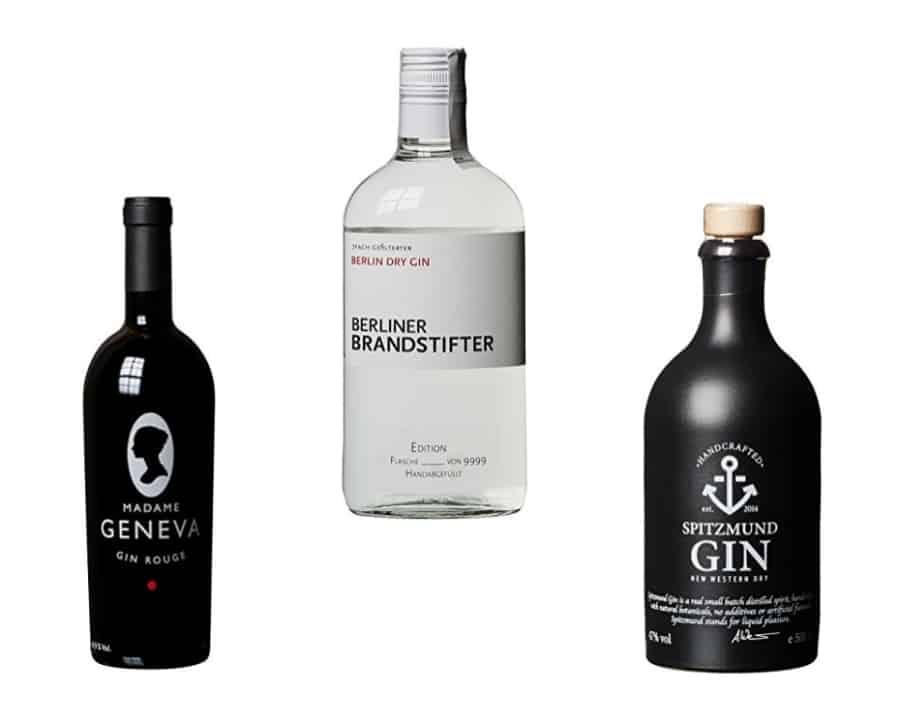 Beispiele für New Western Dry Gin: Madame Geneva, Berliner Brandstifter & Spitzmund Gin