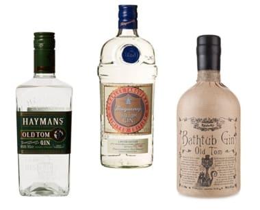 Beispiele für Old Tom Gin: Haymans, Tanqueray Gin & Professor Cornelius Ampleforth's Old Tom Gin