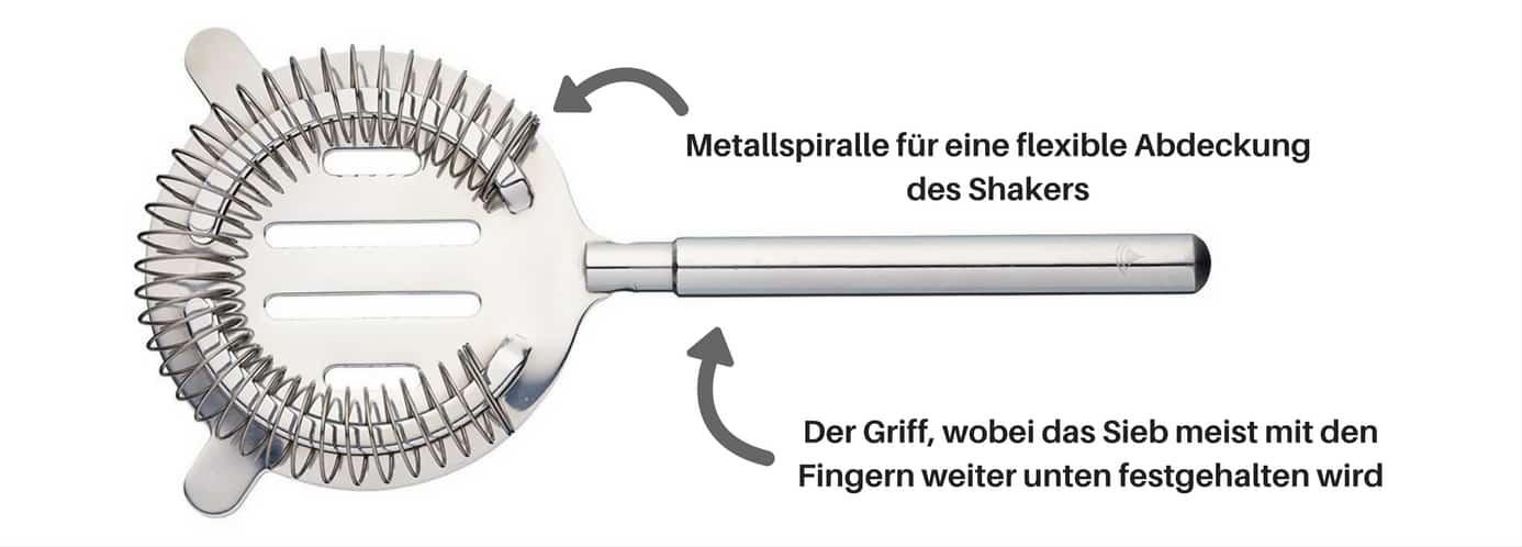 Aufbau eines typischen Barsiebs (Hier ein Barsieb von Kitchen Craft)